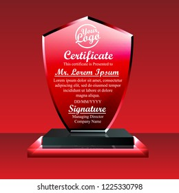 crystal trophy certificate design template on stock vector royalty
