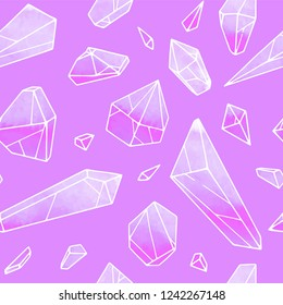 Crystal vector seamless pattern on violet background. Set of watercolor crystals. Hand drawn geometric illustration. Jewelry texture perfect for fabric and wrapping.