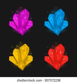 Crystals and diamonds resources set for game design
