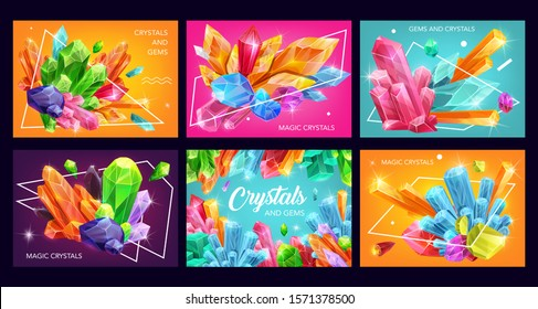 Crystals and gem stones with abstract geometric shapes. Vector gemstones, mineral rocks and jewels, diamonds, quartz and amethyst, pink glass, blue sapphire and citrine, opal, precious jewelry design