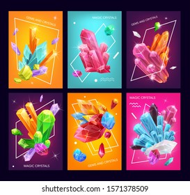 Crystals, gems and gemstones vector design. Rock and stone of mineral crystals, quartz, diamond and pink amethyst, salt, brilliant and sapphire, precious jewels with sparks and geometric shapes