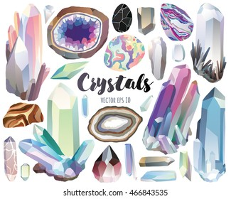 Crystals, Gems, and Stones Vector Design Elements