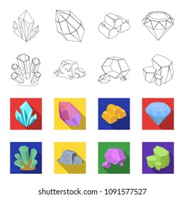 Crystals, iron ore. Precious minerals and a jeweler set collection icons in outline,flat style vector symbol stock illustration web.