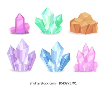 Crystals realistic precious geological minerals isolated on white colorful set. Vector of shiny crystal stones natural elements emeralds and diamonds