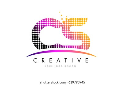 CS C S Dots Letter Logo Design with Magenta Bubble Circles and Swoosh