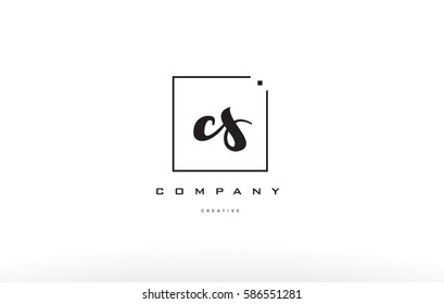 cs c s hand writing written black white alphabet company letter logo square background small lowercase design creative vector icon template
