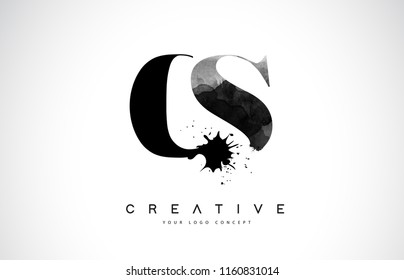 CS C S Letter Logo Design with Black Ink Watercolor Splash Spill Vector Illustration.