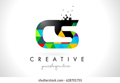 CS C S Letter Logo with Colorful Vivid Triangles Texture Design Vector Illustration.
