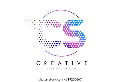 CS C S Pink Magenta Dotted Bubble Letter Logo Design. Dots Lettering Vector Illustration