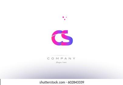 cs c s  pink purple modern creative gradient alphabet company logo design vector icon template