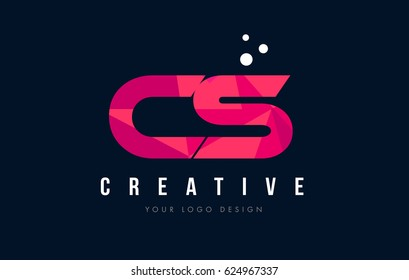 CS C S Purple Letter Logo Design with Low Poly Pink Triangles Concept