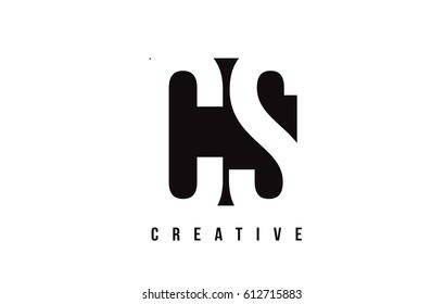 CS C S White Letter Logo Design with Black Square Vector Illustration Template.