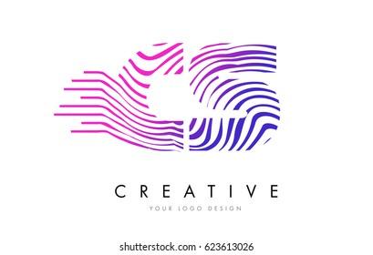 CS C S Zebra Letter Logo Design with Black and White Stripes Vector