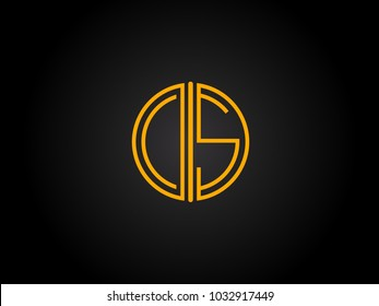 CS Circle Shape golden yellow Letter logo Design