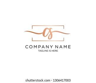 CS handwriting initial  logo vector