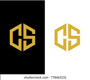 CS initial hexagon icon. letter. logo design vector eps 10