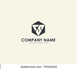 CS initial hexagon with triangle abstract letter logo design vector eps 10