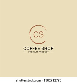 CS initial letter logo Coffee cup design logo, for cafe, coffee shop, banner and poster - Vector