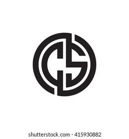 CS initial letters linked circle monogram logo