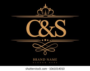 C&S Initial logo, Ampersand initial logo gold with crown and classic pattern