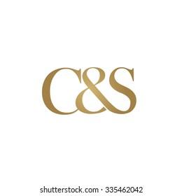 C&S Initial logo. Ampersand monogram golden logo
