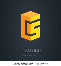 CS initial logo. C and 5 - Vector design element or 3d icon. C and S initial monogram logotype
