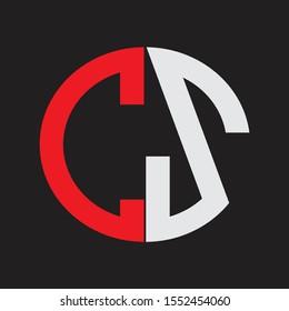 CS Initial Logo design Monogram Isolated on black background