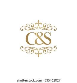 C&S Initial logo. Ornament ampersand monogram golden logo