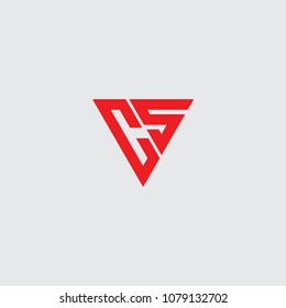 cs initial logo vector, triangle