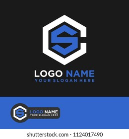 CS logo letter initial, Abstract polygonal Background Logo,