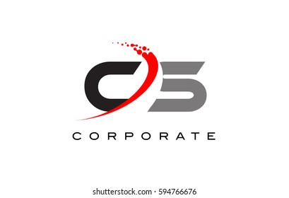 CS Modern Letter Logo Design with Red Swoosh and Dots