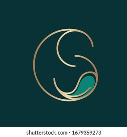CS monogram logo. Letter c and letter s typographic icon.Decorative overlap lettering sign.Alphabet initials with leaf isolated on dark green fund.Modern,elegant,luxury style golden metal characters.