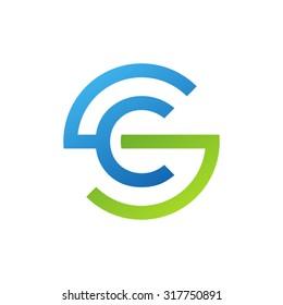 CS SC initial company circle S logo blue green