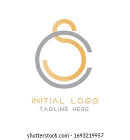cs or sc letter logo design modern
