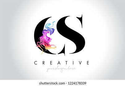 CS Vibrant Creative Leter Logo Design with Colorful Smoke Ink Flowing Vector Illustration.
