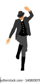 Csardas dancer vector illustration. Folklore of Hungary. Bavarian man on October fest. Polka dance performer.  East Europe traditional festival attraction. Man dancing wedding dance. Balkan culture.