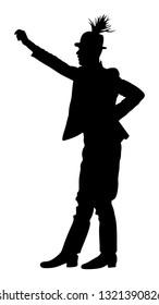Csardas dancer vector silhouette. Folklore of Hungary. Bavarian man on October fest. Polka dance performer.  East Europe traditional festival attraction. Man dancing wedding dance. Balkan culture.