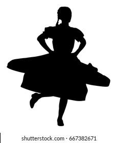 Csardas dancer vector silhouette illustration. Folklore of Hungary. Bavarian woman on octobarfest. Polka dance performer. Balkan folk dance. Europe traditional festival attraction.
