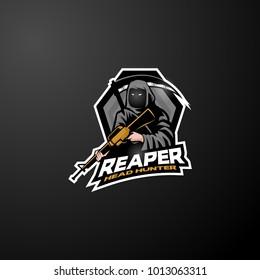 CSGO first person Shooter Game mascot logo grim reaper assault rifle