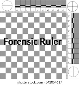 CSI Forensic Ruler, ruler forensic mobile lab for photographing evidence at the crime scene, vector true scale.