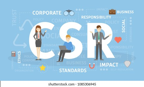 CSR concept illustration. Idea of responsibility and social life.
