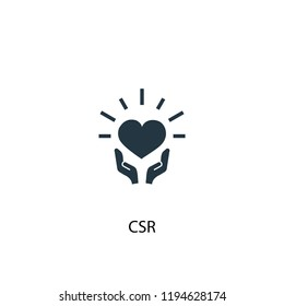 CSR icon. Simple element illustration. CSR concept symbol design. Can be used for web and mobile.