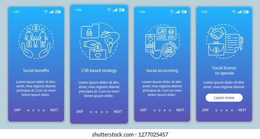 CSR onboarding mobile app page screen vector template. Corporate social responsibility walkthrough website steps. Social welfare and environment. UX, UI, GUI smartphone interface concept
