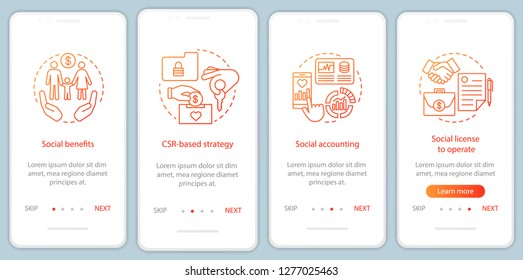 CSR onboarding mobile app page screen vector template. Corporate social responsibility walkthrough website steps. Social welfare, accounting, license. UX, UI, GUI smartphone interface concept