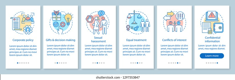 CSR onboarding mobile app page screen vector template. Corporate social responsibility. Business ethics walkthrough website steps. Corporate policy. UX, UI, GUI smartphone interface concept