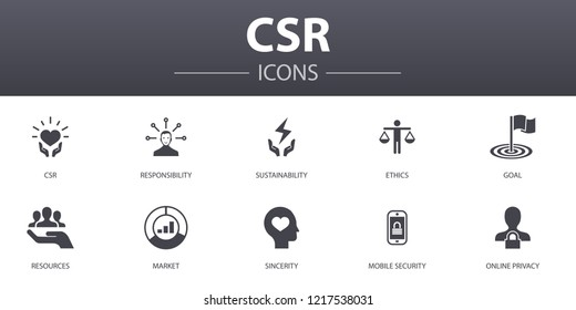 CSR simple concept icons set. Contains such icons as responsibility, sustainability, ethics, goal and more, can be used for web, logo, UI/UX