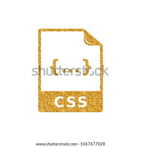 CSS File Format Icon Gold Glitter Stock Vector (Royalty Free