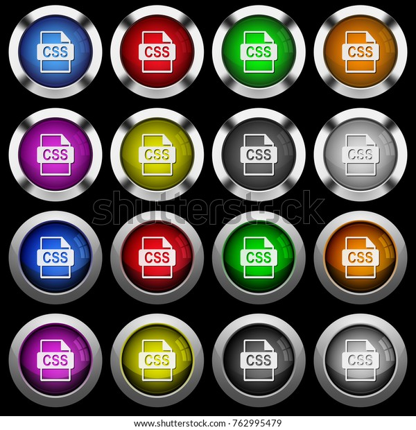 Css File Format White Icons Round Stock Vector (Royalty Free