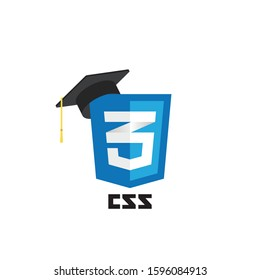 CSS web technology shield with graduation hat. Web site development icon on white background. Cascading Style Sheets. Learn web programming concept.
