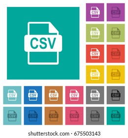 CSV file format multi colored flat icons on plain square backgrounds. Included white and darker icon variations for hover or active effects.